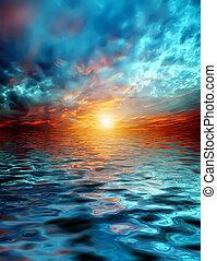 над, закат солнца, озеро