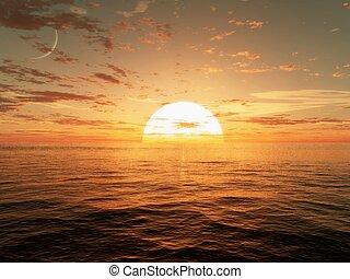 над, закат солнца, океан