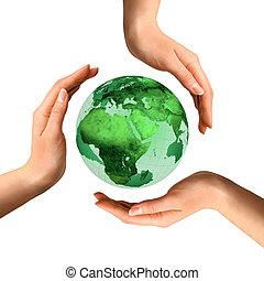 над, земной шар, переработка, концептуальный, земля, символ