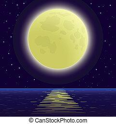над, море, луна