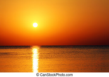 над, море, пейзаж, восход