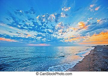 над, небо, закат солнца, море, сэнди, beac