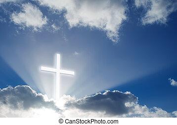 над, пересекать, небо, кристиан, солнечно, красивая