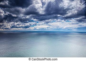 над, погода, море, пасмурная погода