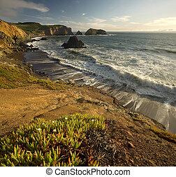 над, тихий океан, калифорния, закат солнца, cliffs, крутой