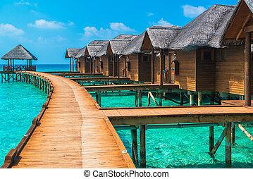 над, bungalows, воды, удивительно, steps, лагуна, зеленый