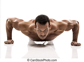 над, dmaking, isolated, ups, задний план, от себя, белый, мышца, студия, человек