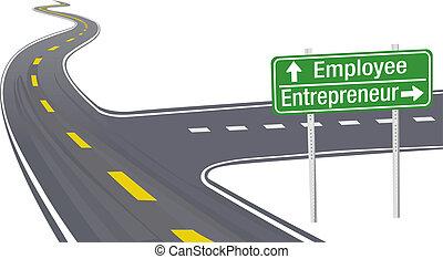 наемный рабочий, предприниматель, решение, бизнес, знак