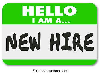 наклейка, наем, новый, наемный рабочий, новобранец, свежий, nametag, зеленый, талант