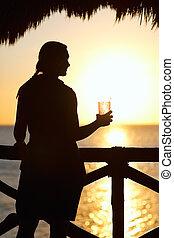 напиток, закат солнца