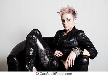 наряд, женщина, панк, молодой, привлекательный
