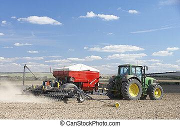 насаждение, семя, трактор, поле
