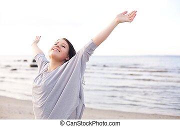наслаждаться, женщина, ее, природа, растягивание, arms, счастливый