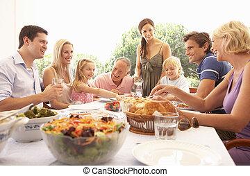 наслаждаться, пикник, семья, grandparents, parents, children