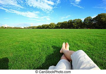 наслаждаться, расслабиться, босиком, природа