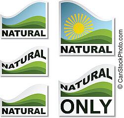 натуральный, вектор, stickers, пейзаж