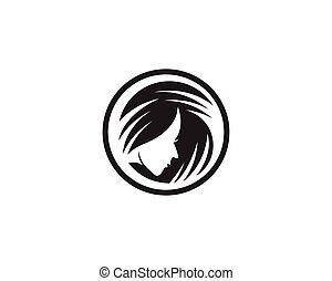 натуральный, шаблон, красота, логотип, салон, волосы, вектор