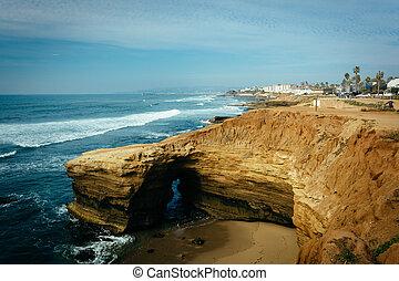 натуральный, loma, точка, пещера, парк, тихий океан, закат солнца, вдоль, cliffs, california.