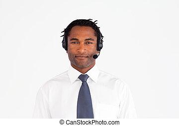 наушники, afro-american, бизнесмен