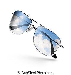 небо, белый, солнечные очки, отражение, isolated
