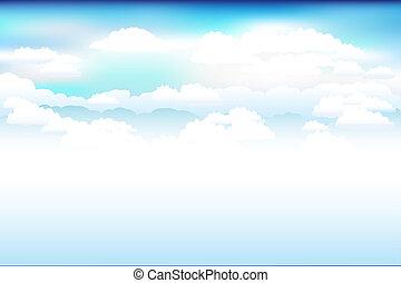 небо, вектор, clouds, синий