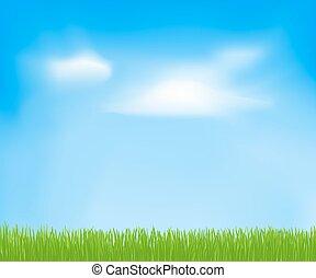 небо, весна, абстрактные, clouds, grass., вектор, зеленый, задний план, дизайн, ваш, шаблон