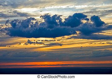 небо, драматичный, закат солнца
