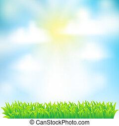 небо, задний план, clouds, трава, весна