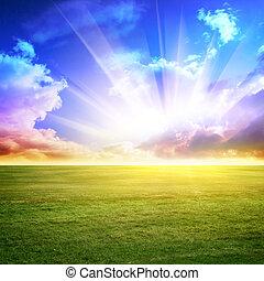 небо, зеленый, луг