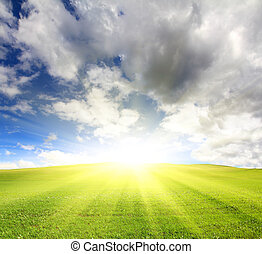 небо, солнечно, зеленый, холм, под, трава