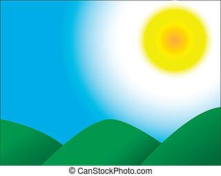 небо, солнце, mountains