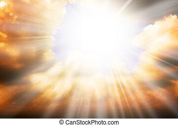 небо, солнце, -, rays, религия, концепция, небо