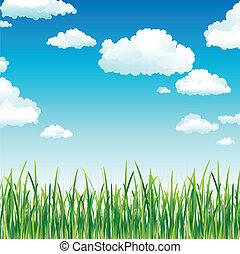 небо, трава, clouds, зеленый, выше