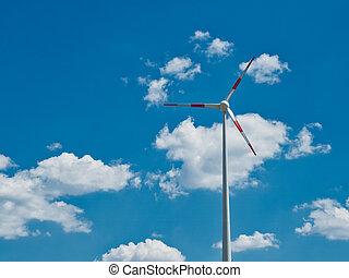 небо, турбина, ветер, против, синий