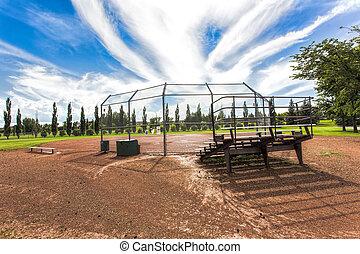 небо, уникальный, бейсбол, поле