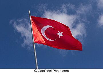 небо, флаг, турецкий, против, флагшток, синий