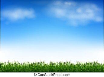 небо, clouds, зеленый, синий, трава