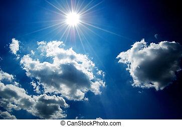 небо, clouds, синий