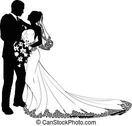 невеста, жених, силуэт
