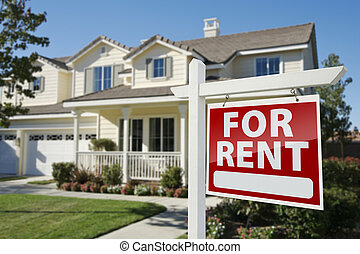 недвижимость, дом, знак, аренда, фронт