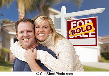 недвижимость, дом, пара, знак, фронт, продан