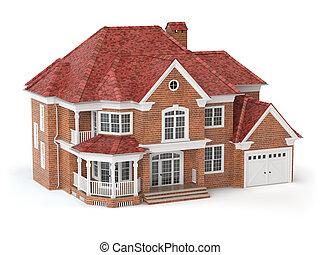 недвижимость, дом, concept., isolated, white., 3d