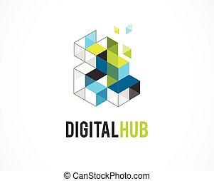 недвижимость, красочный, абстрактные, icons, элемент, творческий, шаблон, цифровой, логотип, символ, здание