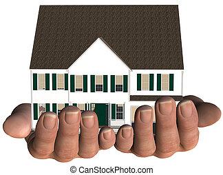 недвижимость, предлагает, дом, руки, главная