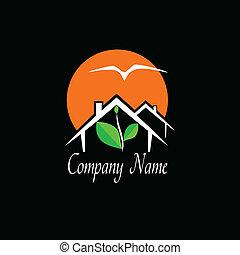 недвижимость, путешествовать, агентство, логотип, или