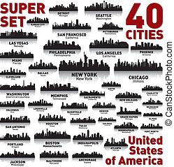 неимоверный, состояния, единый, set., линия горизонта, город, america.