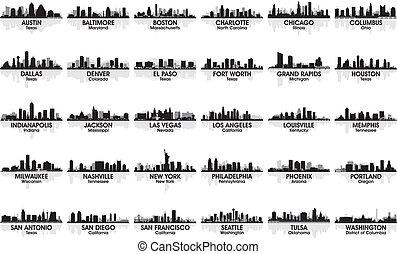 неимоверный, skyline., 30, cities., usa, задавать, город