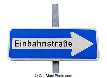немецкий, знак, один, путь, (einbahnstrasse), дорога