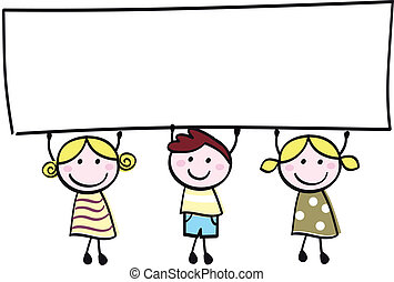 немного, держа, баннер, счастливый, пустой, милый, -, мальчик, girls, пустой, мультфильм, illustration.