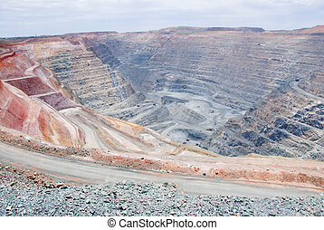 немного, свалка, красновато, большой, мой, почва, яма, trucks